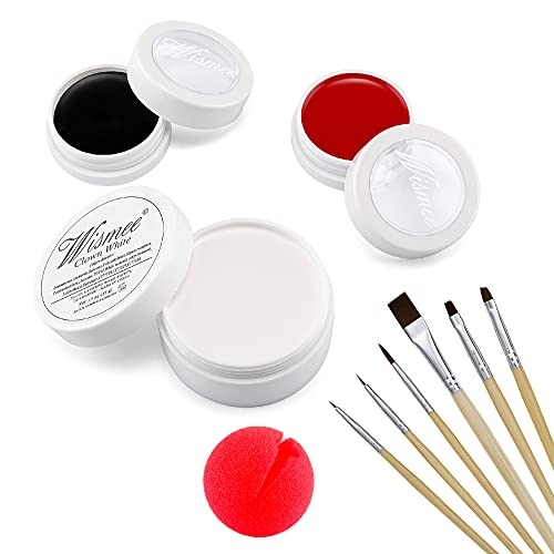 Wismee Black White Red Cream Face Body Paint Clown Joker Zombie Vampire Skeleton Halloween Costume Fantasy Makeup Fancy Dress Up Cosmetics Set Oil Painting Art with Brushes