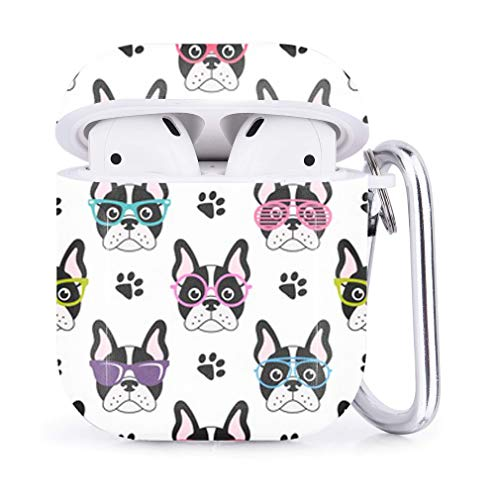Compatible with Airpods 2 & 1 – Shockproof TPU Gel Portable Protection Soft Case Cover Skin with Carabiner Clip Keychain (Cute French Bulldogs Glasses)