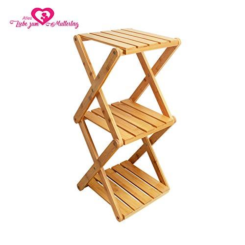 Estantería para flores de tres capas, soporte para flores, escalera para plantas, soporte para plantas, de bambú, plegable.