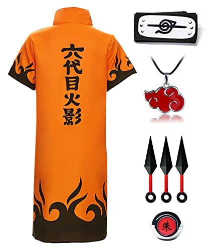O.AMBW Capa de Akatsuki Itachi Set Disfraz Kakashi Cosplay Naruto Uchiha Itachi Capa de Itachi para Disfraz Cosplay para Fiesta de Hollaween Navidad Unisex Adulto Niños