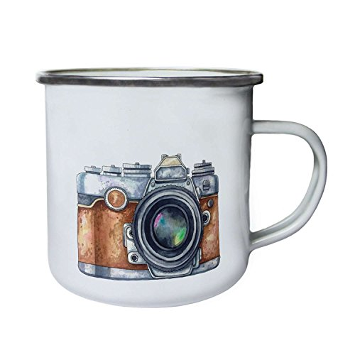 INNOGLEN Aquarell-Foto-Kamera Lustige Neuheit neu Retro, Zinn, Emaille 10oz/280ml Becher Tasse k71e