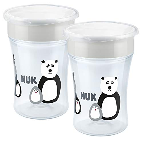 NUK Monochrome Animals Magic Cup 230ml, 360°-Trinkrand, abdichtende Silikonscheibe, ab 8 Monaten, BPA frei, grau, 2 Stück