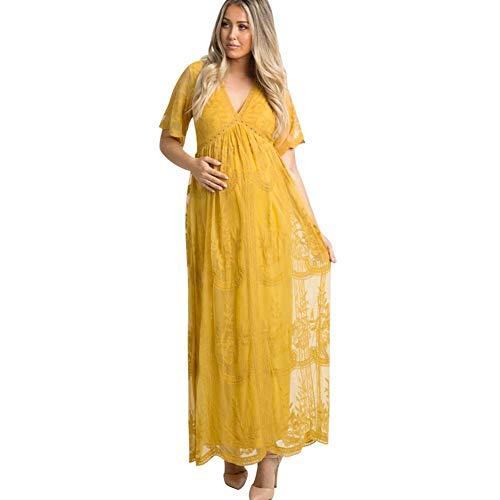 FYMNSI Vestido de embarazo, cuello en V, de manga corta, vestido largo de encaje, vestido de maternidad, ropa de boda, fiesta, fotografía, disfraz amarillo Talla única