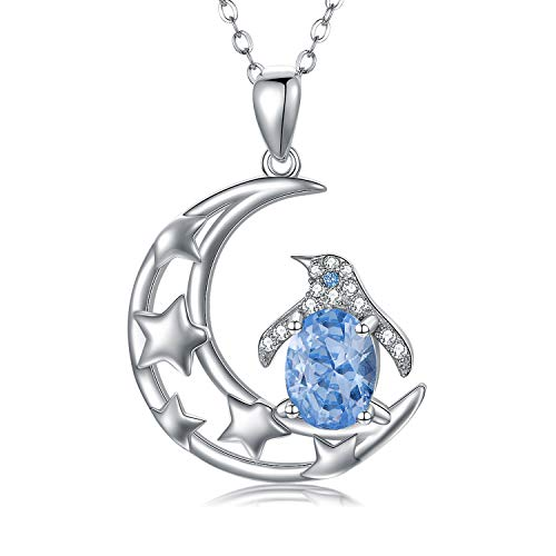 Penguin Necklace 925 Sterling Silver I Love You to the Moon and Back Necklace AAA Cubic Zirconia Moon Star Pendant Cute Animal Penguin Jewelry Gifts for Women Mother s Day
