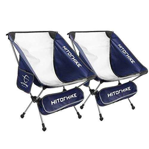HITORHIKEキャンプチェア バックパック キャンプ 折りたたみ椅子 通気性ある メッシュ構造 2つのサイドポケット付き アルミフレームキャンプチェア コンパクト 超軽量 キャリングバッグ付き 重量:950g 耐荷重:150kg (紺, 2pcs)