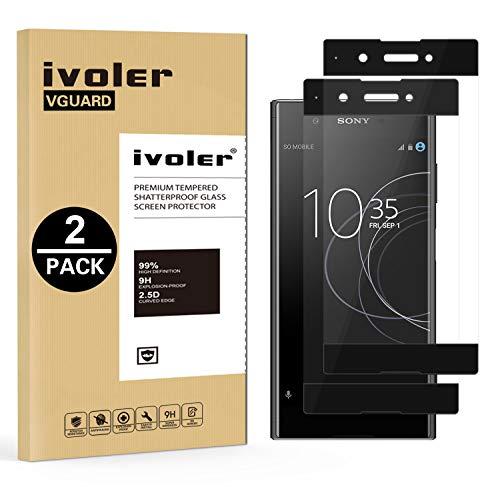 ivoler [2 Stücke] Panzerglas Schutzfolie für Sony Xperia XA1 Plus, [Volle Bedeckung] Panzerglasfolie Folie Hartglas Gehärtetem Glas BildschirmPanzerglas