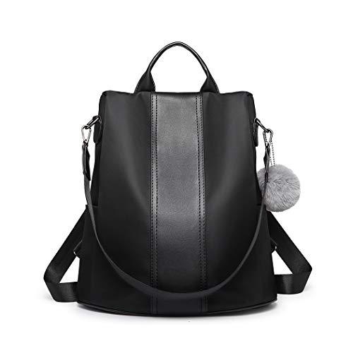 Miss Lulu Damen Rucksack Wasserdichte Nylon Schultaschen Anti-Diebstahl Tagesrucksack Schultertaschen für Unterwegs (Schwarz)