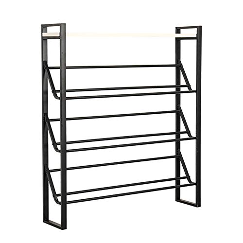 Skoställ Multi-Purpose Entré Freestanding Shoe Rack Inomhus Storage Rack Space-Spara 4-våningar Metal Shoe Rack Hem Lätt att montera (guld/svart) Skohylla (Color : Black, Size : Large)