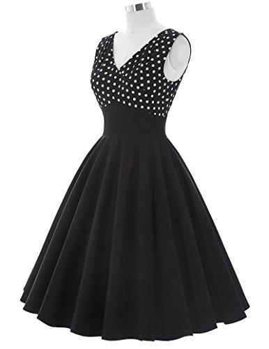 50s Kleid Partykleid A-Linie Picknick Kleid Knielang Casual Kleid M BP093-1 - 5