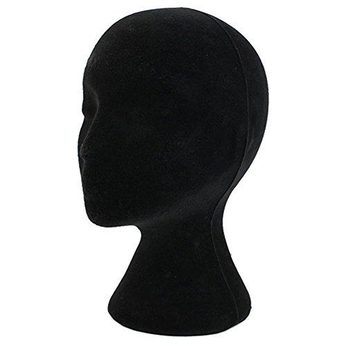 Testa di manichino femmina, modello da espositore di parrucca, occhiali, cappello, in polistirolo