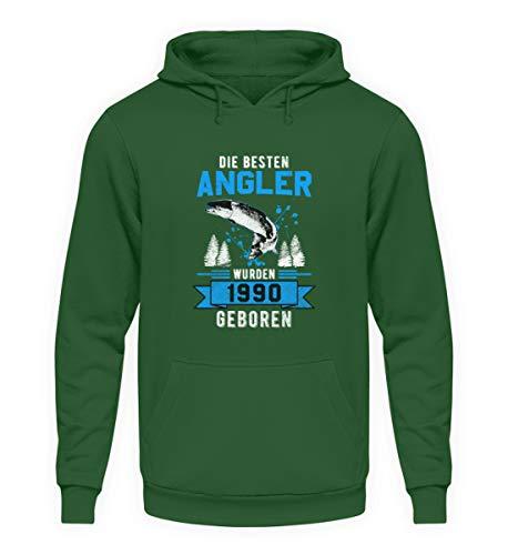 """Angler Geboren 1990 - Sudadera unisex con capucha y texto en alemán """"Angel-n Fisch-en"""" verde oscuro XL"""