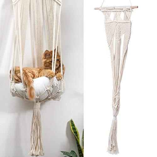 XINL Hanmmock Colgante, Columpio de Gato, Material de Cuerda de algodón de Estilo Bohemio Resistente al desgarro Decoración de la Pared del hogar