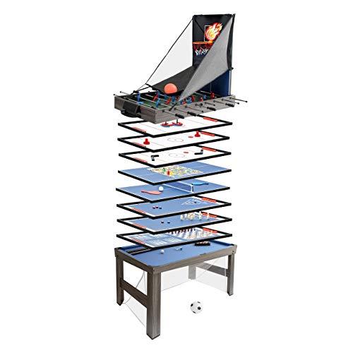 Mendler Tischkicker HWC-J16, Tischfußball Billard Hockey 20in1 Multiplayer Spieletisch, MDF 174x107x60cm ~ anthrazit-grau