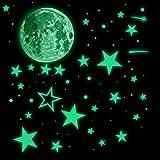 543 pz realistici adesivi 3D che si illuminano al buio, adesivi da soffitto luminosi fluorescenti a pois stelle e luna spaziali adesivi da parete per camera dei bambini cameretta della casa