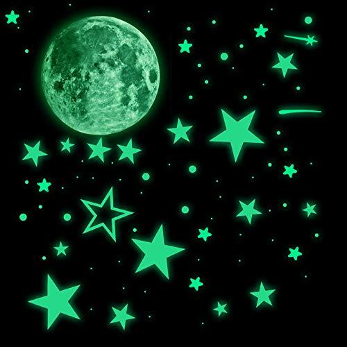 543 pegatinas realistas en 3D que brillan en la oscuridad para el techo, luminosas y fluorescentes, estrellas y luna, espacio para pared, para dormitorio, cuarto de bebé, decoración del hogar