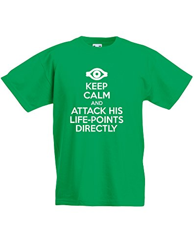 Keep Calm and Attack His Life-Points Directly, Enfant T-Shirt imprimé - Vert/Blanc 3-4 Ans