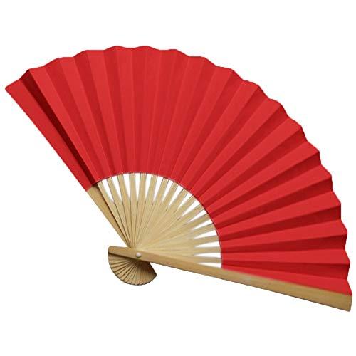 Faltbarer Handfächer Hand Fan Handventilator Papierfächer Holz Geschnitzten Bambus Handheld Faltfächer Taschenfaecher für Wanddekoration Hochzeit Party E