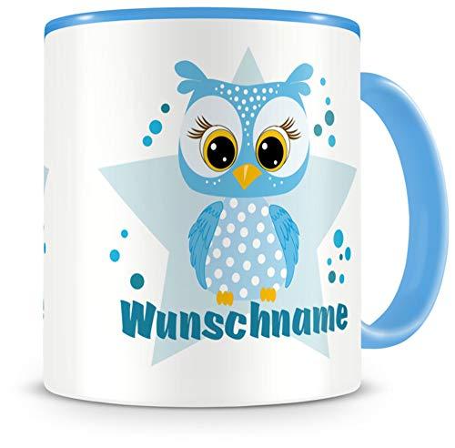 Samunshi® Kindertasse mit Namen Tasse blaue Eule Personalisierte Tasse mit Namen Kinder Kinderbecher mit Namen Kindergarten blau 300ml