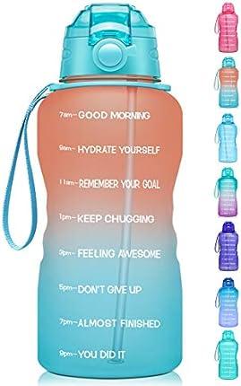 Giotto - Botella de agua con marcador de tiempo y paja, 1 galón/128 oz, a prueba de fugas Tritan sin BPA, garantiza que bebas suficiente agua diaria para fitness, gimnasio y actividades al aire libre