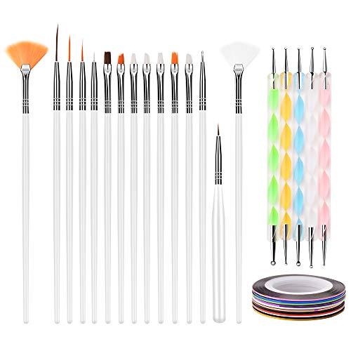 Guangmaoxin 15 pcs Pinceles para Uñas, Kit de Accesorios de Decoración de Uñas, 12 Colores Uñas Stickers, 5 Piezas de Lápiz de Punto de 2 Extremos, Oro y Plata Postes del Metal