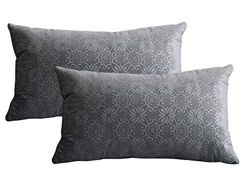 Lutanky Funda de cojín de Terciopelo Suave (Paquete de 2) Fundas de Almohada Modernas rectangulares para sofá Cama (30 x 50 cm)(Gris,2 Piezas)