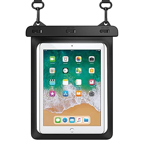 HeySplash Custodia Impermeabile per Tablet Fino a 12 Pollici, Borsa Impermeabile Universale con IPX8, Cover Completa per iPad Air 4 3 2020 2019 iPhone 12 Pro Max Galaxy S20 S10 - Nero