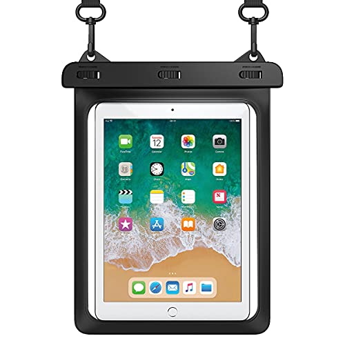 HeySplash Funda Impermeable Universal para Tableta hasta 12', Funda Sumergible Certificada IPX8 con Correa de Cuello para iPad Pro, iPad Air, iPad Mini, GalaxyTab S6Lite, Huawei Honor Tableta, Negro