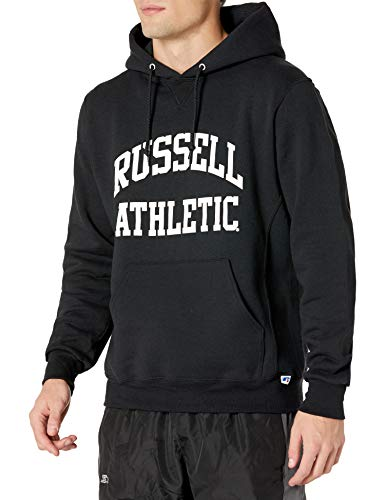 Russell Athletic Men's Dri-Power Pullover Fleece Hoodie, Black - Arch Logo, Small