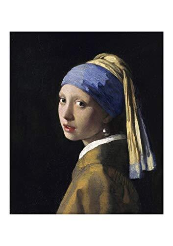Spiffing Prints Johannes Vermeer - Pendientes de niña con perla Giclée – Extra grande – semibrillante – enmarcado