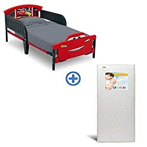 Delta Children 3D-Footboard Toddler Bed, Disney/Pixar Cars 3 Twinkle Stars Fiber Core Crib and Toddler Mattress