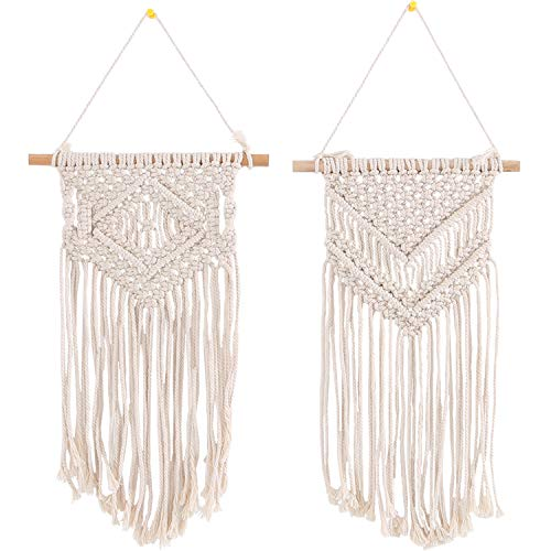 SUCHDECO 2 Pcs Macrame Wall Hanging Woven Tapestry Boho Wall Decor Tapestry Handmade Cotton Rope Woven Decor Beautiful Geometric Art Gallery Apartment Living Room Bedroom Home Decoration