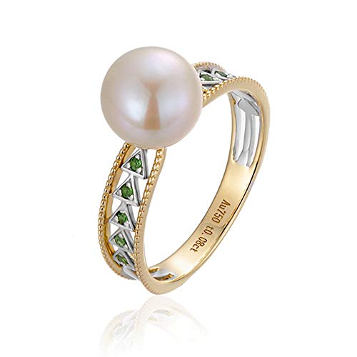 Daesar 18K Yellow Gold Engagement Ring for Her 0.08ct White Triangle Pearl Hollow Ring Round Tsavorite Ring Wedding Bands Gold Ring Size 4.5