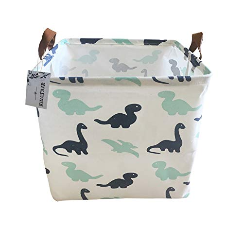 Canvas Storage Bins Toy Basket Collapsible Boxs Chest Organizer Water-resistant Nursery for edroom, Closet, Kid's Toys, & Laundry (Dinosaur)