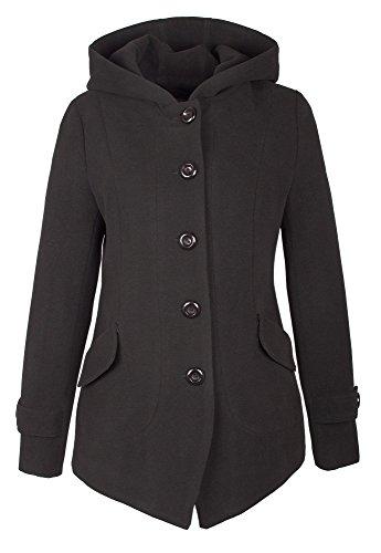 Grimada A71 Damen Wollmantel Wolljacke COOTIC mit Kapuze (40, schwarz)