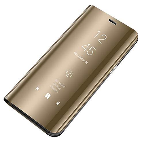 Carcasa Samsung Galaxy S6 Funda para Smartphone Galaxy S6 Edge Espejo Mirror Flip Case Anti-Scratch Protector Cover Soporte Plegable Caso Duro para S6 Edge Plus (Oro, Samsung Galaxy S6 Edge Plus)