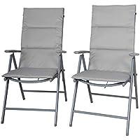 Chicreat - Juego de 2 sillas de camping plegables tapizadas (gris y plateado)