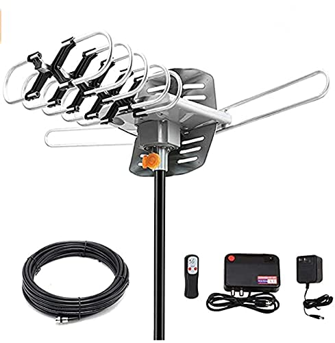 Ematic EDT312ANT HD 1080p Motorized Rotating Outdoor Amplified TV Antenna UHF/VHF/FM