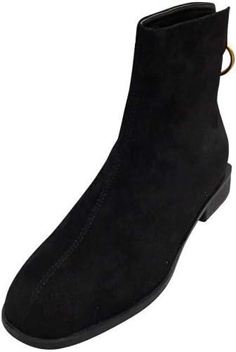 Femmes Bas Talon Bottine Confortable Ronde Orteils Zippés Chaussures Décontracté chaussures Party Chaussures Robe De L'ue Taille 34-40