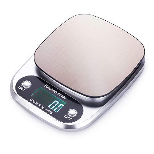 FUUMIY Báscula digital de cocina profesional, con pantalla LCD y gran precisión, 0,1 g/máx. 5 kg, con función de gramo de tara, color plateado