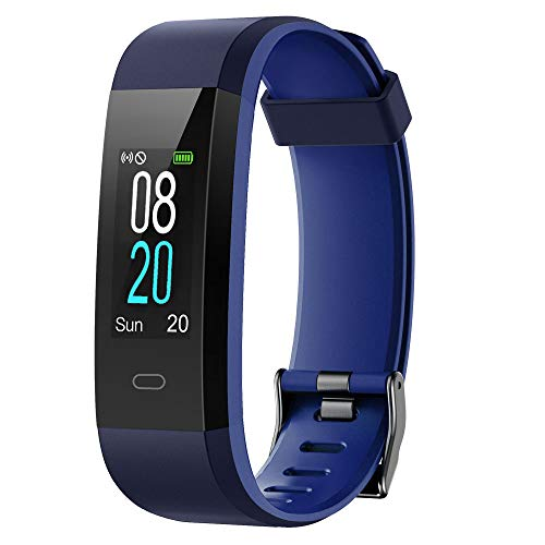 YAMAY Unisex-Adults Smart Watch and Fitness Bracelet with Heart Rate Monitor, Waterproof, Activity Tracker, Vibration Alarm, Call, SMS Note for iOS Android Phone Blue