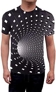 Mcottage Men Women Short Sleeve T-Shirt 3D Swirl Print Optical Illusion Hypnosis Tee Tops