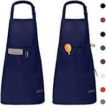 Viedouce Kitchen Aprons Women Chefs Aprons with Pockets Waterdrop Resistant 2 Pack, Navy