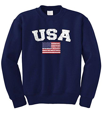 Cybertela Faded Distressed USA Flag Crewneck Sweatshirt (Navy Blue, X-Large)