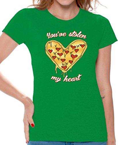 Awkward Styles Women's You`ve Stolen My Heart T Shirts Tee Tops for Women Pizza Lover Gift Green 3XL