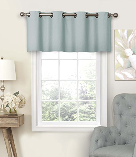 """Eclipse Nadya Solid Grommet Top Curtains for-Kitchen and Living Room, 52"""" x 18"""", Smokey Blue"""