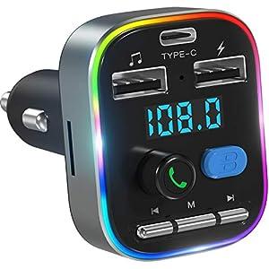 LENCENT Transmisor FM Bluetooth 5.0, Manos Libres Inalámbrico Reproductor Música Coche, Adaptador Radio Bluetooth 2 USB+Tipo C Carga, 7 Modos de Dinámico Luz, Deep Bass Soporte para Disco U/Tarjeta TF