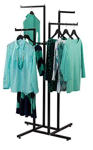 4 Way Clothing Display Rack with Straight Arms (Black)