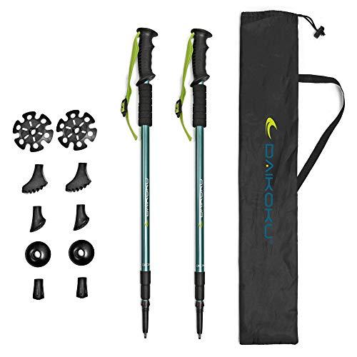 Daikoku. Bastones Trekking. 2 Bastones Senderismo Extensibles para Caminar. Ajustables 65cm-135cm Resistentes en Aluminio, Agarre ergonómico, con 6 Puntas. Regalo Mochila Trail Daikoku ✅