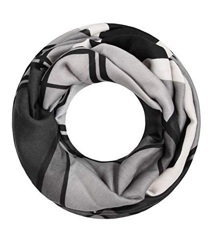 Majea Damen Loop Schal viele Farben tolle Muster Schlauchschal Halstücher (schwarz 18)