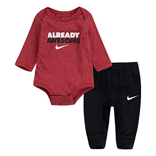 NIKE Children's Apparel Baby Girls Long Sleeve Bodysuit and Joggers 2-Piece Outfit Set, Black/Gym Red Heather, 3M